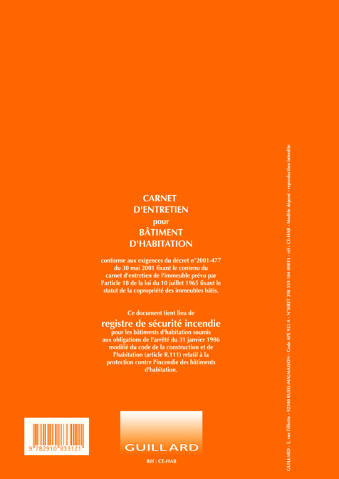 Carnet entretien et registre pour immeuble d habitation for Carnet sanitaire piscine