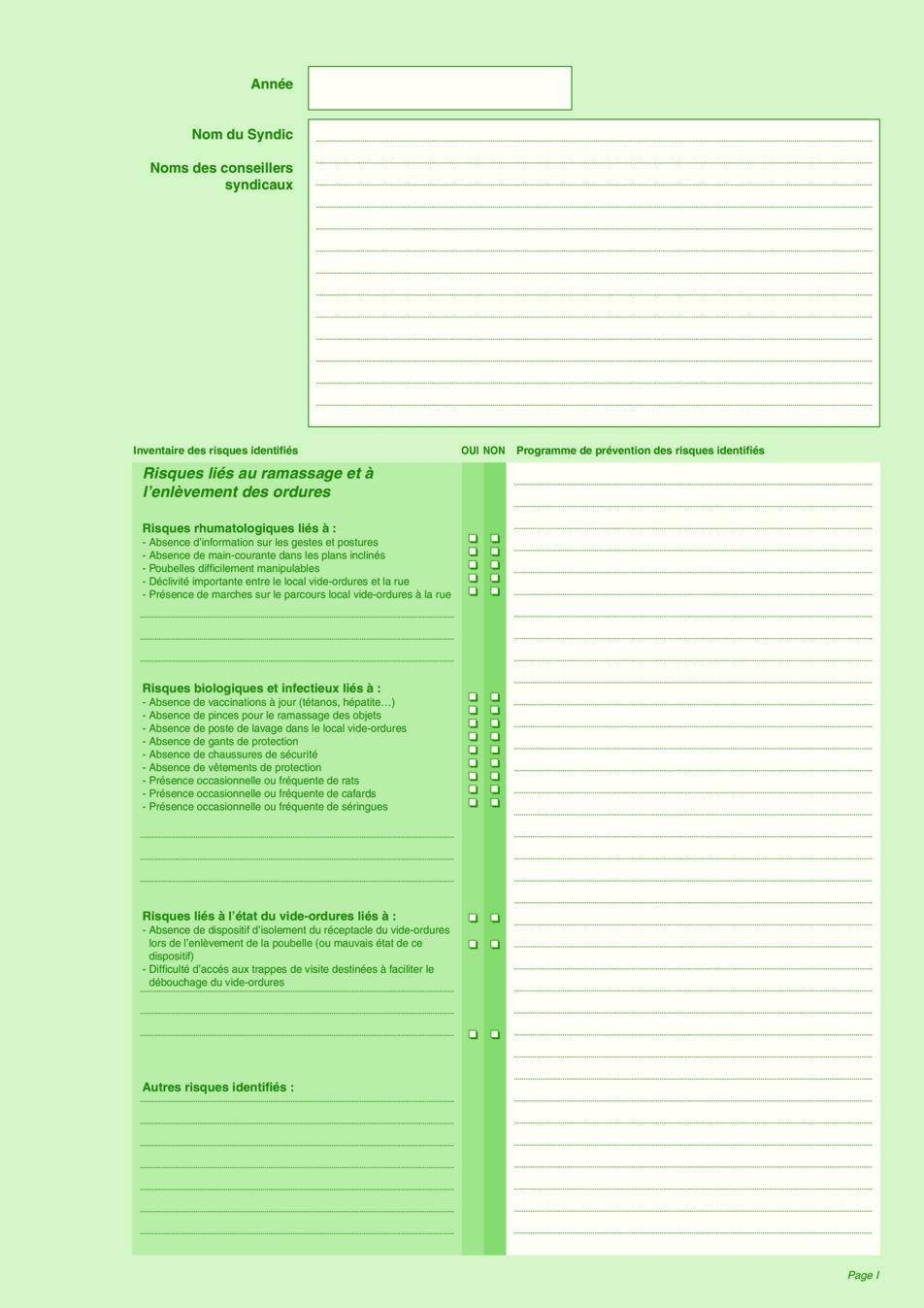 Document unique evaluation des risques pour gardiens et for Carnet sanitaire piscine